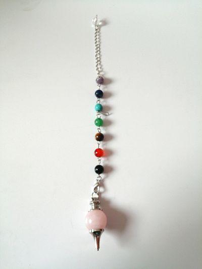 pendulo de cuarzo rosa
